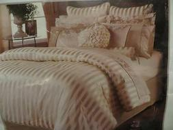Hotel Linens Carlton Ivory Gold Stripe Queen Comforter Set C