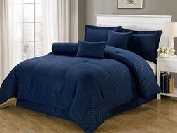 Chezmoi Collection 7-piece Hotel Solid Dobby Stripe Comforte