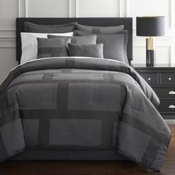 Hudson Modern 7 Pieces 2-tone Silver Gray Jacquard Bedding C