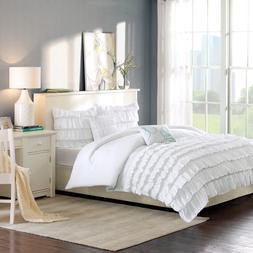 Intelligent Design ID10-020 Waterfall Comforter Set, White