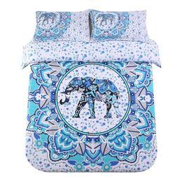 Sandyshow 3PC India Elephant Bedding Full/Queen Bohemia Micr