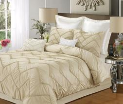 Chic Home Isabella 5 Piece Comforter Set, Champagne, Bedskir