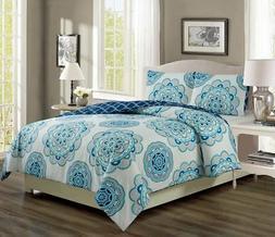 Ivanna Teal/Navy Reversible Comforter Set