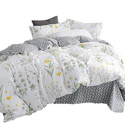 CLOTHKNOW Botanical Floral Duvet Cover Sets Full/Queen White