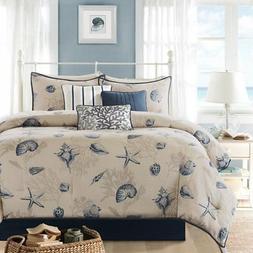 Ivory Blue Ocean Themed King Comforter Set Beach Pattern Bed