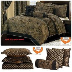 Jacquard Comforter Set 7 Piece Bedding Bed In Bag King Cal K