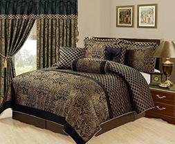7 Piece Jacquard Comforter set Black Gold All Sizes New, Kin
