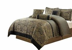 Comforter Set, King,Chezmoi Collection Lisbon 7-Piece Jacqua