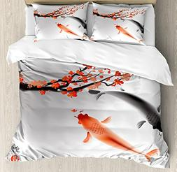 Ambesonne Japanese Duvet Cover Set King Size, Koi Carp Fish