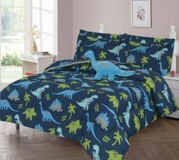 JURASSIC DINO BLUE COMFORTER BED SHEET SET WINDOW PANEL VALA