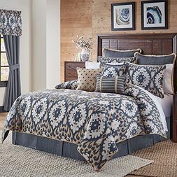 Croscill Kayden 4pc Comforter Set, Cal King, Blue, 4 Piece