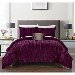 Chic Home Kerk 4 Piece Comforter Set Crinkle Crushed Velvet