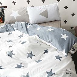 BuLuTu Five-Pointed Stars Kids Duvet Cover Set Twin Grey Whi