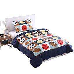 MarCielo 2 Piece Kids Bedspread Quilts Set Throw Blanket for