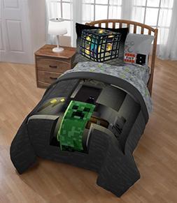 D.I.D. 2 Piece Kids Black Green Minecraft Comforter Twin/Ful