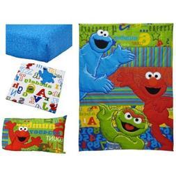 TL 3 Piece Kids Blue Red Sesame Street Toddler Sheet Set, Gr