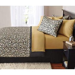 8 Piece Kids Brown Cheetah Print Theme Comforter Queen Set,