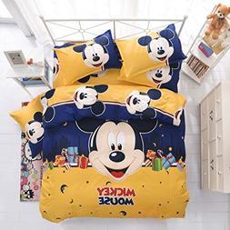 Ln 4 Piece Kids Cute Blue Yellow Mickey Mouse Duvet Cover Qu
