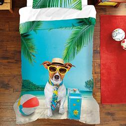 N-A 3 Piece Kids Travel Dog At The Beach Comforter Full Quee