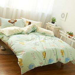 HIGHBUY 3 Piece Kids Duvet Cover Set Full Soft Cotton Animal