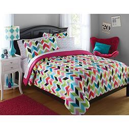 N-A 8 Piece Kids Multi Color Geometric Blocks Comforter Quee