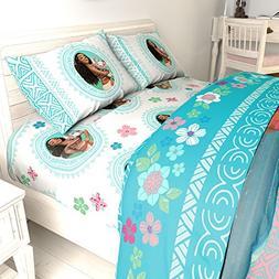 LO 5 Piece Kids Girls Blue Cute Disney Moana Comforter Twin/