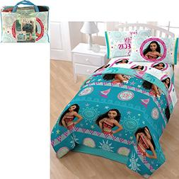 5 Piece Kids Girls Blue Disney Moana Comforter Twin Set, Cut