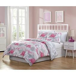 LO 2 Piece Kids Girls Gray White Pink Dinosaur Comforter Twi