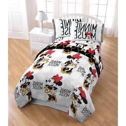 N2 4 Piece Kids Girls Minnie Mouse Comforter Twin Set, White