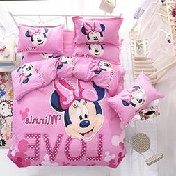 Ln 4 Piece Kids Girls Pink Minnie Mouse Duvet Cover Queen Se