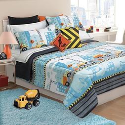 D.I.D. 3 Piece Kids Grey Orange Blue Construction Zone Theme