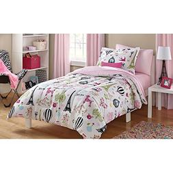 Mainstays Kids Paris Reversible Solid Pink Full Bedding Comf