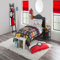 D.I.D. 4 Piece Kids Pokemon Themed Comforter Twin Set, Pikac
