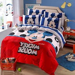 Ln 4 Piece Kids Red White Blue Stripes Mickey Mouse Duvet Co
