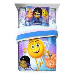 2 Piece Kids White Purple Blue Emoji Movie Comforter Twin/Fu