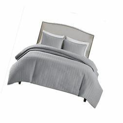 Comfort Spaces - Kienna Quilt Mini Set - 3 Piece - Gray - St