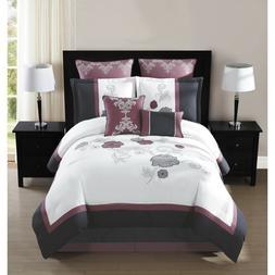 King 8 Piece Embroidered Comforter Set Maliah Pillow Shams B