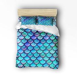 Vandarllin King Size Bedding Set- Fish Scales Purple Blue Du