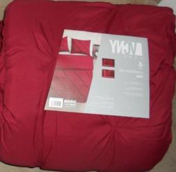 King Size Comforter Set in Burgundy Posh Pintuck 4 Pc Set w/