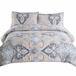 Bedsure King Comforter Set Classics Grey Paisley Design Down