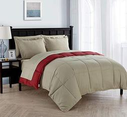 King Size Complete BED-IN-A-BAG Reversible in Taupe / Red Co