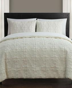 King Size Complete BED-IN-A-BAG in Off White Embossed Textur