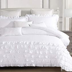 YALOVO King Duvet Cover Set White 2 Pillow Shams Waterfall S