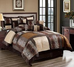 Queen 7 Pcs Micro Fur Leopard Patchwork Bedding Comforter Se
