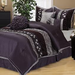 OS 7 Piece King Luxurious Purple Comforter Set, Bedding, Flo