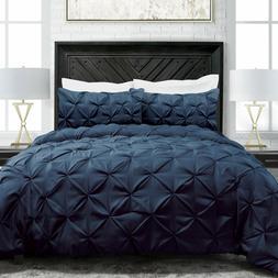 Sleep Restoration, King Navy Blue Pinch Pleat 3-Pc Luxury Do