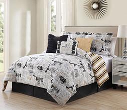 KingLinen 7 Piece Queen Oh-La-La Reversible Comforter Set