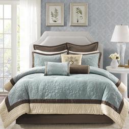 King or Queen Comforter Set Blue Brown Bedding Bedspread Qui