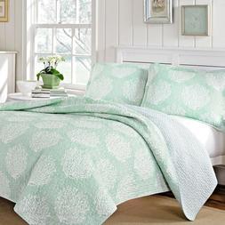 King Quilt Set Seaside Design Comforter Bed Cover Green Base