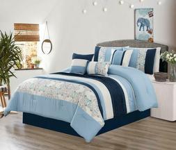 King Size Bedding Comforter Set Bed In A Bag - 7Pcs Microfib